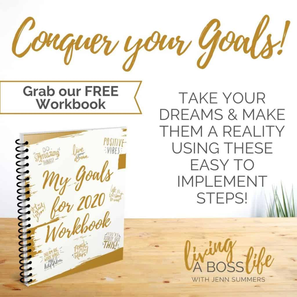 Conguer your goals like a boss with our free workbook! Now available in fillable pdf! Or print it for a hard copy! Nothing motivates a person to achieving their goals more than seeing it on paper, our free workbook is the perfect solution!