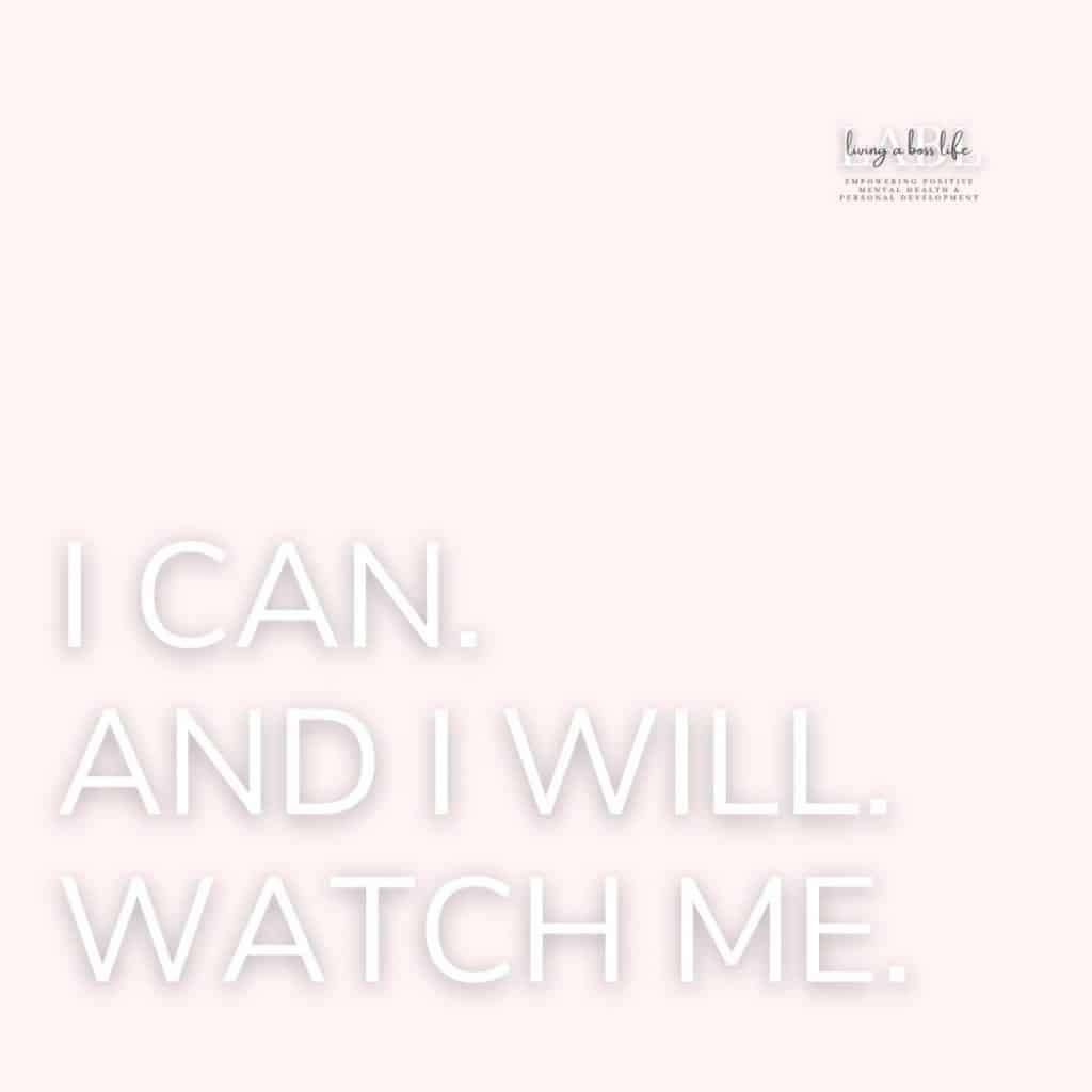 I can. And I will. Watch me. This motivational quote provides strength when faced with adversity. Stand tall stand proud and focus on your achievements to be successful! See all our motivational quotes! MotivationalQuotes #Success #Goals #DefineYourSuccess #MotivationalQuotesForWomen #MotivationalQuotesForWork #MotivationalQuotesToWorkout #LifeQuotes #PositiveQuotes #QuotesOnHappiness #QuotesOnStrength #QuotesOnEncouragement #QuotesOnSuccess #QuotesHardWork #QuotesToInspire #QuotesToMotivate #Achieve #Confidence #Motivate