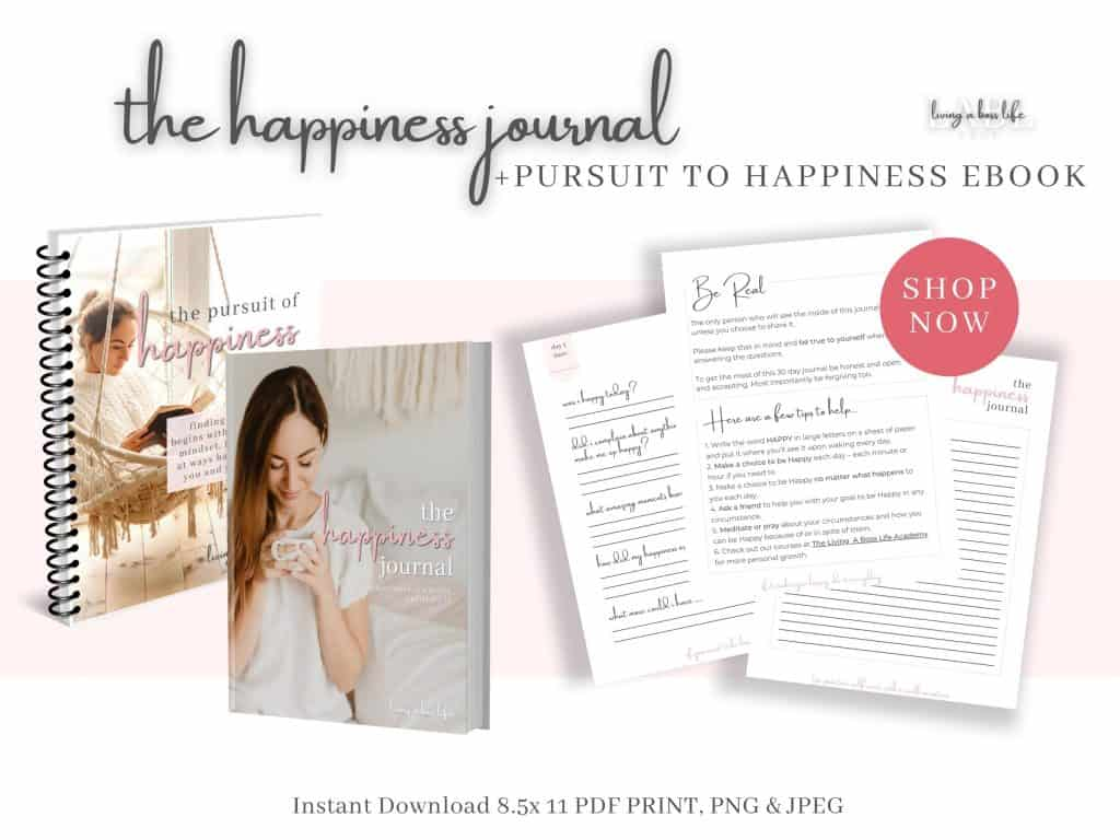 Introducing the Happiness Journal Plus A Special Bonus: My eBook The Pursuit Of Happiness!What's inside The Happiness Journal-Each page is beautifully designed to help you find the moments worth focusing on and highlighting.-Each page comes with an inspirational quote or a helpful daily tipEach day consists of 3 pages:-a prompting page with questions to help get you thinking,-a space to capture an image with a photo or drawing-place to set a new daily goal for happiness,-a full page for your daily inspired journal entry.with daily inspirational quotes and tips!Yes, that's right, the journal includes 3 gorgeous pages for each daily entry to help you find the best way to share your creativity.Like most people, I wandered through life for years always trying to get to the big thing, the moment my happiness would finally find me. What I did not know was that happiness does not find you... Let me show you how I discovered my happiness and help you to do the same!Happiness is a habit and like all habits, it takes practice and routine to instil it within our lives. Personal development and positive mental health take a habit changer to start the process.