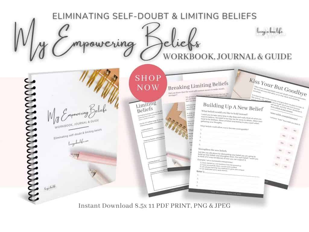 Eliminate self-doubt and limiting beliefs with My Empowering Beliefs Workbook, Journal & Guide. Personal development and positive mental health tools. Change your beliefs from negative to positive empowering beliefs.Often times limiting beliefs and self-doubt can hold us back from our true potential. An essential step in overcoming self-limiting beliefs is to replace the negative thoughts with positive affirmations and empowering beliefs.This workbook, journal and guide help you to change your perspective and create new, lasting beliefs that empower you to believe in yourself and your ability. By enabling positive thinking and destroying your inner critic you can boost your confidence and empower your success.