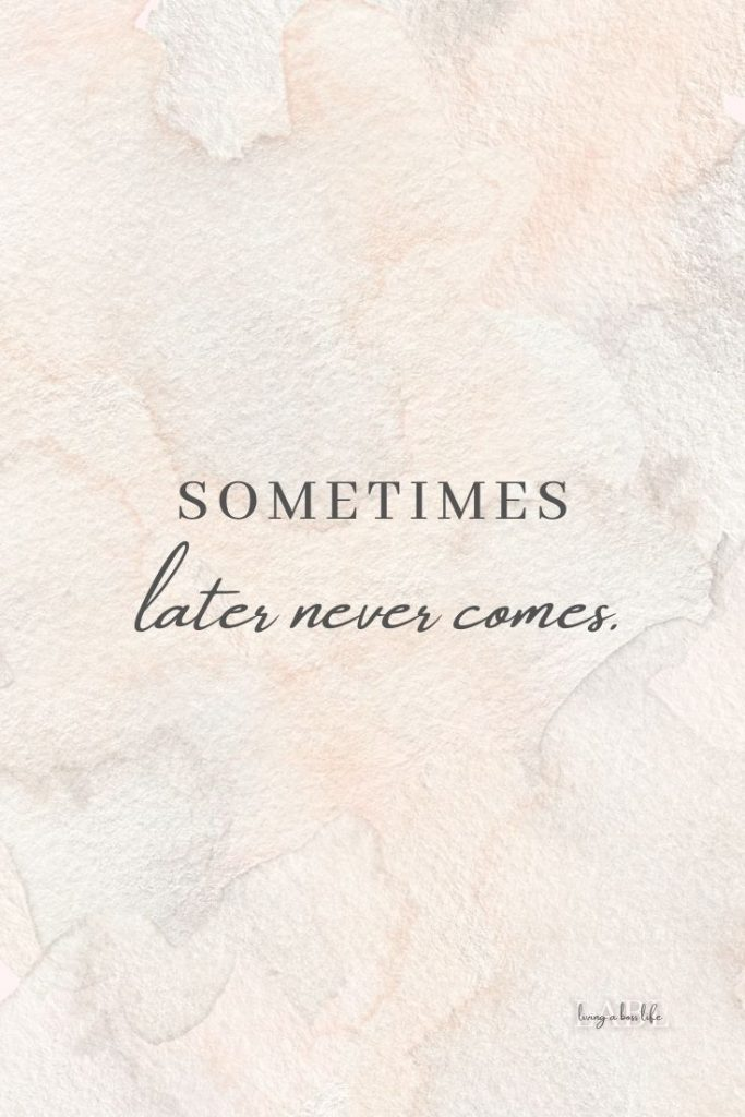 Sometimes later never comes! Don't wait for later when it comes to your goals and what you want in life. Say what you need say, do what you need to do, reach for what you want and don't wait. #Goals #SettingGoals #LifeChangingGoals #GoalsThatChangeYourLife #HowToSetGoals #RoadMapToSuccess