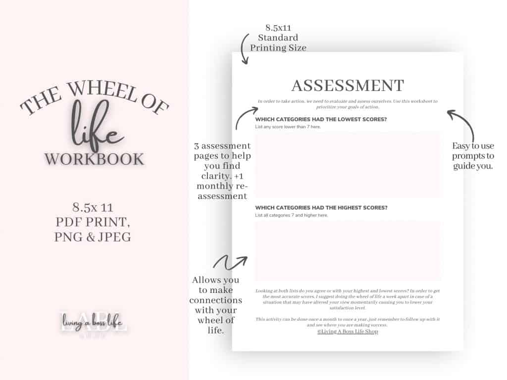 WHAT WILL I GAIN FROM THE WHEEL OF LIFE WORKBOOK?-Find Clarity In 10 Areas Of Life.-Narrow Down & Set Personal Development Goals.-Learn How To Assess Aspects Of Life That May Affect Other Areas Of Life.-Get Organized & Take Action.-Stay Motivated Each Month