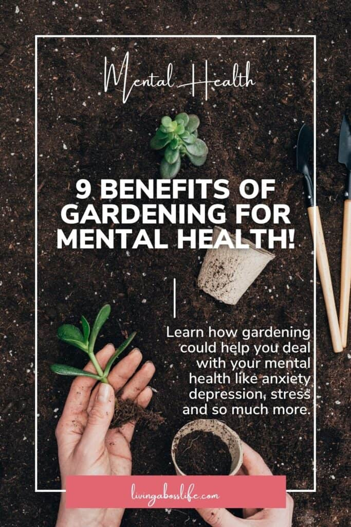 Do you struggle with anxiety, depression or overwhelm? Have you ever hear that the cure could be right in your own backyard? That's right! Lets' talk soil and all the other benefits of gardening for mental health! #MentalHealth #Gardening #BackYardGarden #BenefitsOfGardening #Depression #Anxiety #Stress #HowToUnwind #FindingPeace