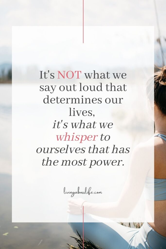"""""""It's not what we say out loud that determines our lives, it's what we whisper to ourselves that has the most power"""" #SelfTalkQuote #Quote #SelfEsteem #ConfidenceQuote #PersonalDevelopment #MentalHealth #SelfTalk #SelfConfidence #LimitingBeliefs #Confidence #SelfDoubt #Relationships #InnerCritic #SelfEsteem"""