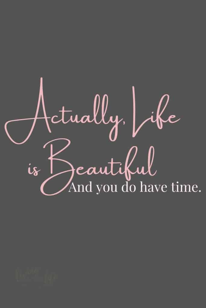 Actually Life Is Beautiful, and you do have time. This quote to live by reminds us that too often we rush through life without taking in the beauty around us. Take time to be thankful for the things we too often take for granted. 7 Beautiful life quotes to inspire. #LifeQuotes #QuotesToLifeBy #InspirationalQuotes #LifeIsBeautiful