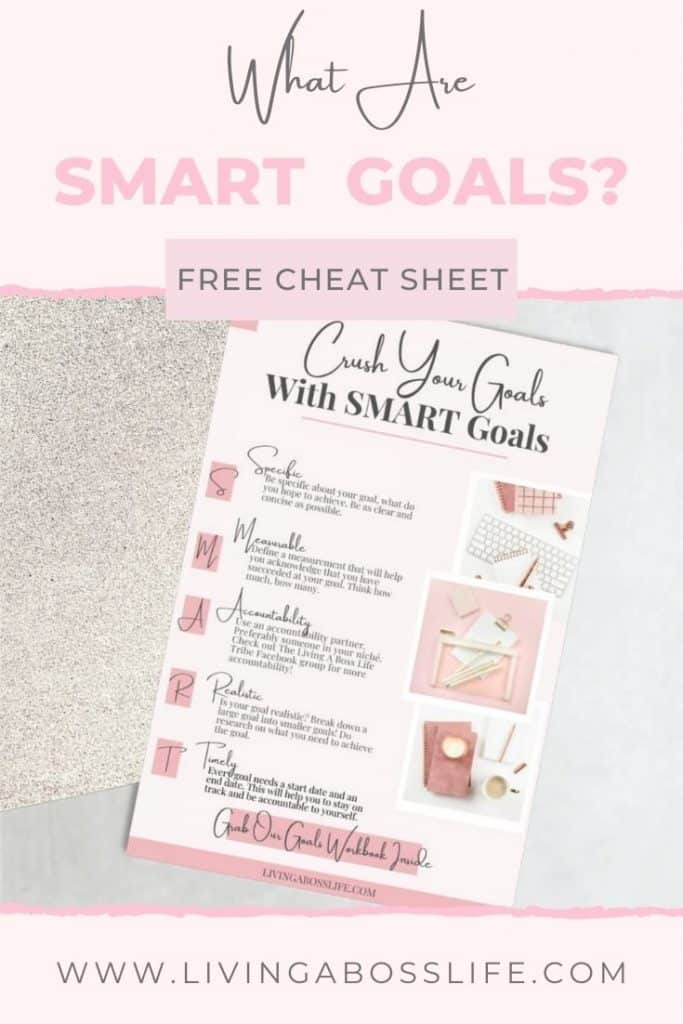 Have you heard of SMART Goals but not sure how to put them to use to achieve your #1 goal? Check out our SMART Goal example as we go over the most popular goal setting acronym of all time. Plus learn how to get your free printable SMART Goals Worksheet inside! #SMARTGoalsAre #SMARTGoalsExample #SMARTGoalsTemplate #SMARTGoalsWithExamples #Goals #SMARTGoalsWorksheet #SMARTGoalsPrintable #SMARTGoalsWorksheetFreePrintable