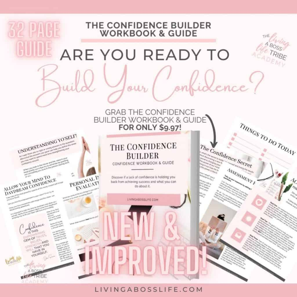 Are you ready to build your confidence? The Confidence Builder Workbook & Guide has 32 pages of strategies to help rebuild a more confident you.
