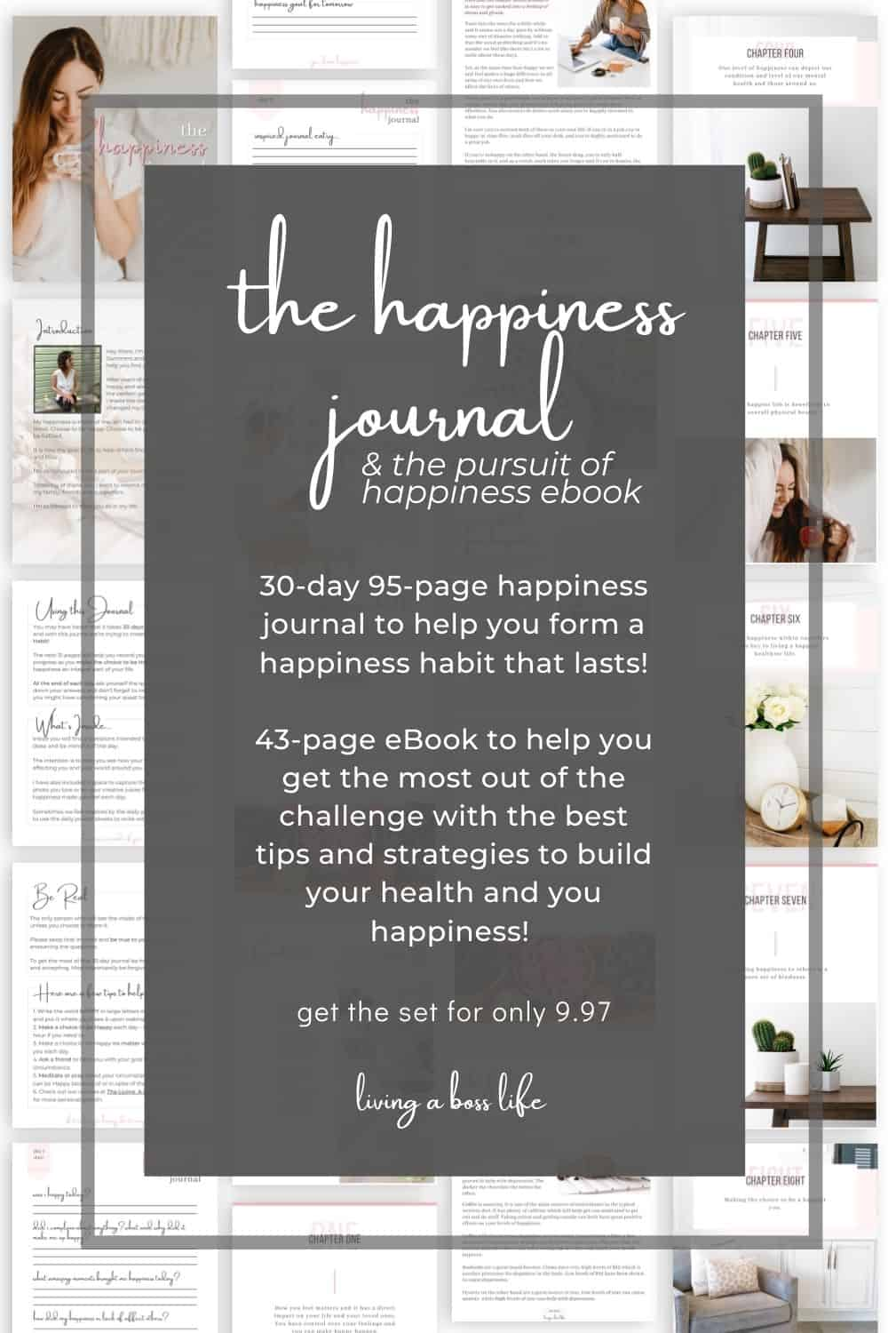 Did you know you can start being happy right now? It's true! When we retrain our minds by building healthy habits in our daily routine we can achieve anything we set our mind to. This 30 day journal helps do just that plus our bonus ebook for tons of tips to happiness and a healthier you!