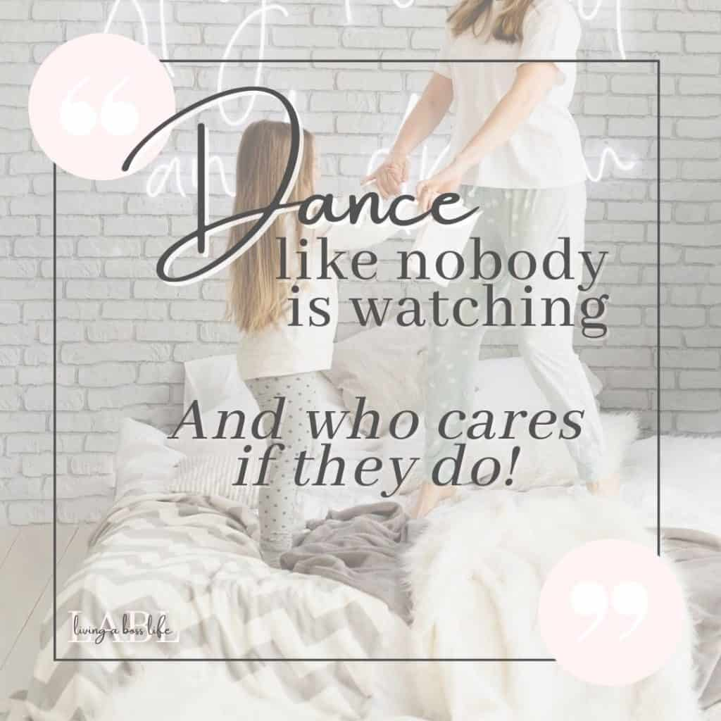 Dance like nobody is watching! And who cares if they do! Be present in the moment and practice mindfulness and self-care with freestyle dance. Let your body feel the music and allow your mind to feel it too! #Mindfulness #MindAndBodyExercises #MentalHealth #SelfCare #SelfLove #ToneYourBody #Exercises #Yoga #TaiChi #Pilates #Walking #Dance