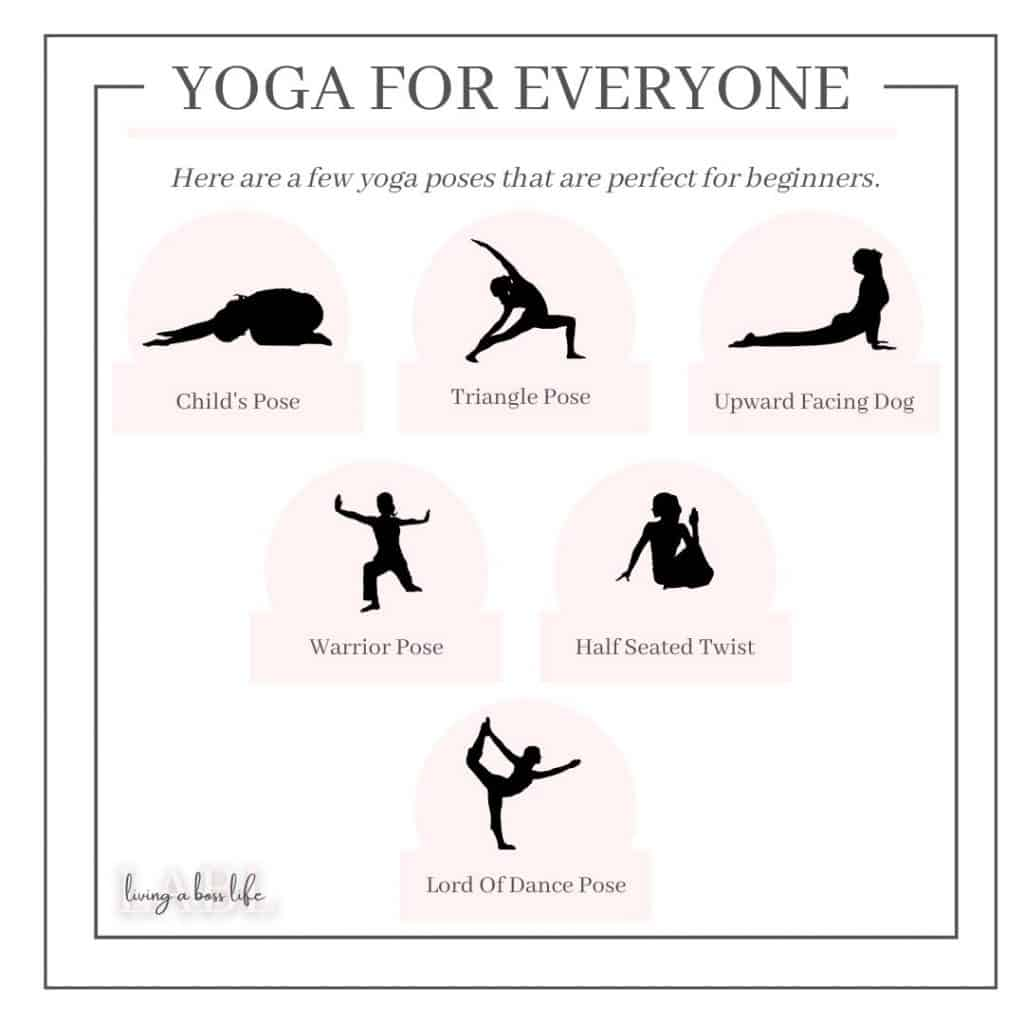 Yoga practices fo everyone! One of our 5 suggestions for mind and body exercises. See them all. #Mindfulness #MindAndBody #MentalHealth #SelfCare #SelfLove #ToneYourBody #Exercises #Yoga #TaiChi #Pilates #Walking #Dance