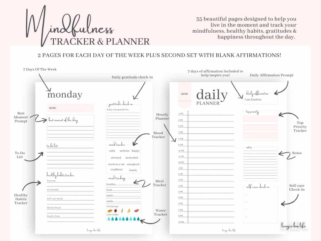 Introducing the Mindfulness Tracker and Planner, a self-care tracker and planner all in one.If you are ready to stay organized with your day-to-day life while tracking your mindfulness then this is just the right planner for you!Staying organized is hella important but practicing mindfulness is too!That is why this planner is filled with reminders to be grateful, helpful reminders to stay on task and practice self-care and acknowledgement of your hard work!