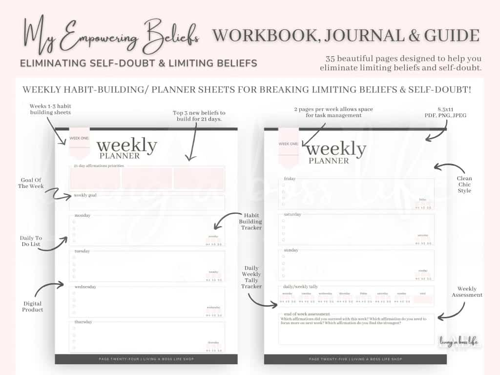 Eliminate self-doubt and limiting beliefs with My Empowering Beliefs Workbook, Journal & Guide  Personal Development Positive Mental Health